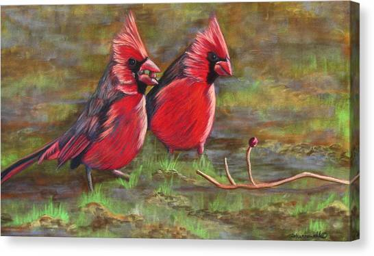 Cardinal Two Canvas Print by Tracey Hunnewell