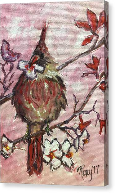 Flycatchers Canvas Print - Cardinal With A Cherry Blossom by Roxy Rich