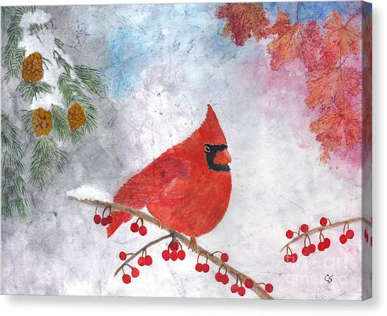 Cardinal With Red Berries And Pine Cones Canvas Print