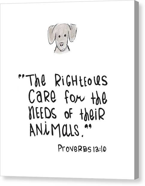 Canvas Print featuring the drawing Care For Animals by Nancy Ingersoll
