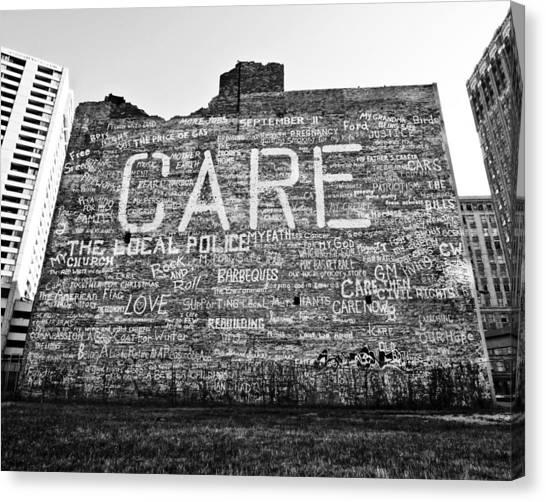 Care Graffiti Building Canvas Print by Alanna Pfeffer