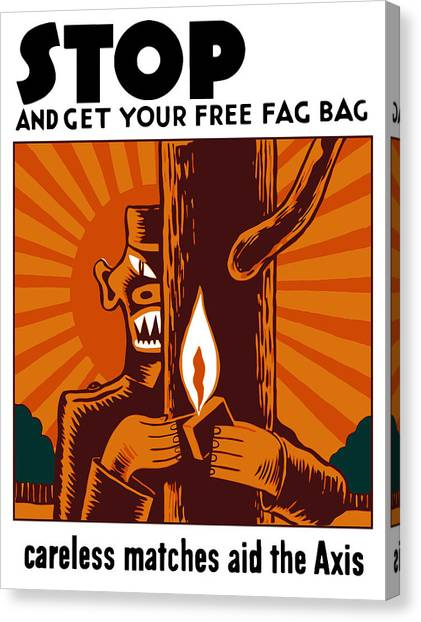 Cigarette Canvas Print - Careless Matches Aid The Axis by War Is Hell Store