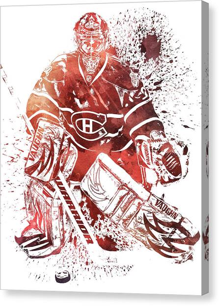 Montreal Canadiens Canvas Print - Carey Price Montreal Canadiens Water Color Pixel Art 1 by Joe Hamilton