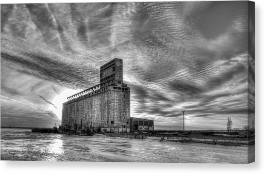 Buffalo ny canvas print cargill sunset in b w by guy whiteley