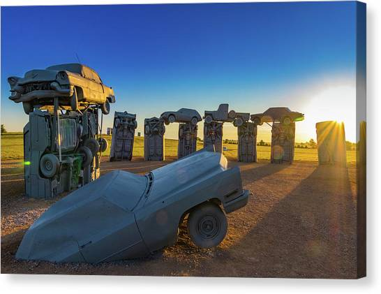 Carhenge Sunrise Canvas Print by David Brown Eyes