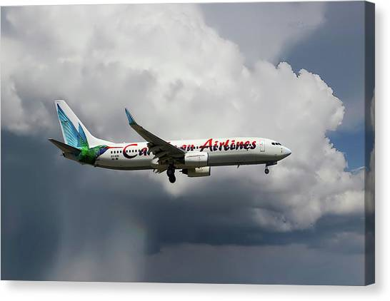 Airlines Canvas Print - Caribbean Airlines Boeing 737-8q8 by Smart Aviation