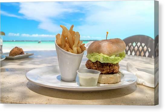 Carribbean Canvas Print - Caribbean Conch Burger by Betsy Knapp