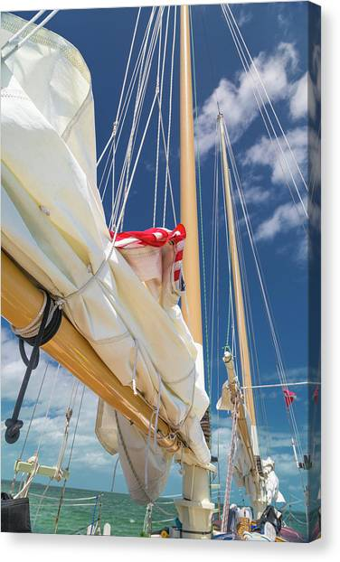 Carribbean Canvas Print - Caribbean Getaway Sailboat by Betsy Knapp