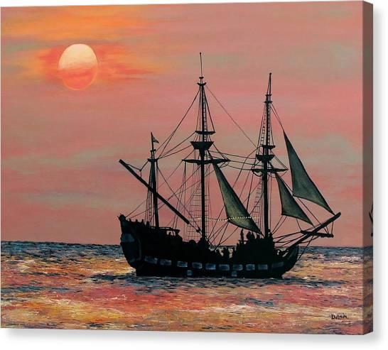 Ocean Sunsets Canvas Print - Caribbean Pirate Ship by Susan DeLain