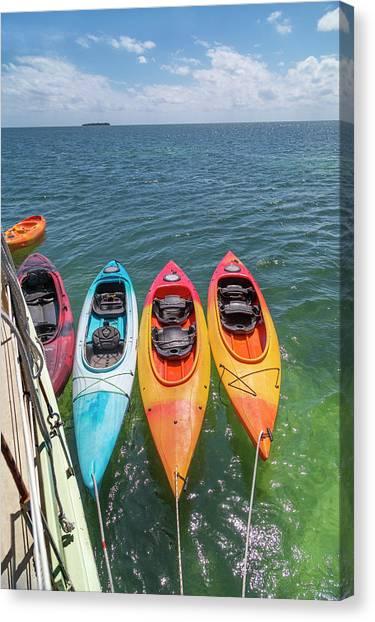 Carribbean Canvas Print - Caribbean Sailing Kayaks by Betsy Knapp