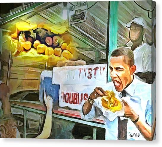 Caribbean Scenes - Obama Eats Doubles In Trinidad Canvas Print