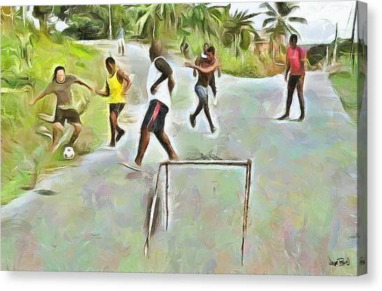 Caribbean Scenes - Small Goal In De Street Canvas Print