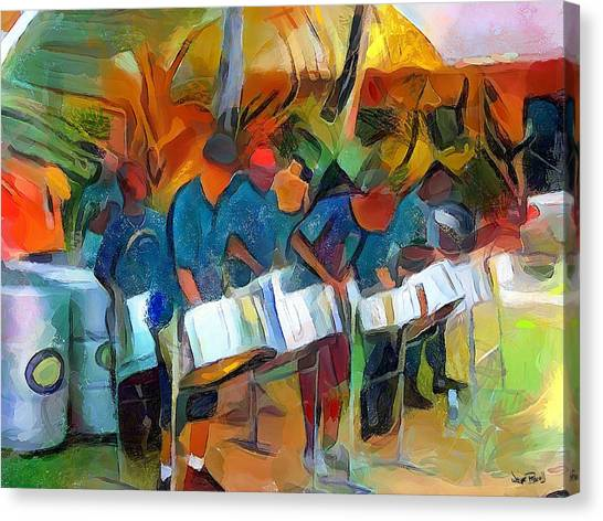 Caribbean Scenes - Steel Band Practice Canvas Print