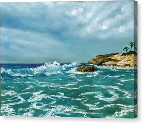Canvas Print featuring the painting Caribbean Sea by Anastasiya Malakhova