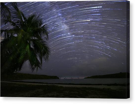 Caribbean Star Trails And Milky Way Canvas Print by Karl Alexander