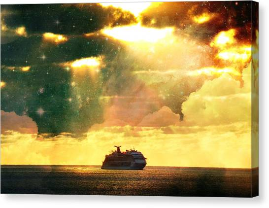 Caribbean Sunset Cloud Art Canvas Print