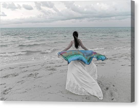 Wedding Gown Canvas Print - Caribbean Tomorrow Is A New Day by Betsy Knapp