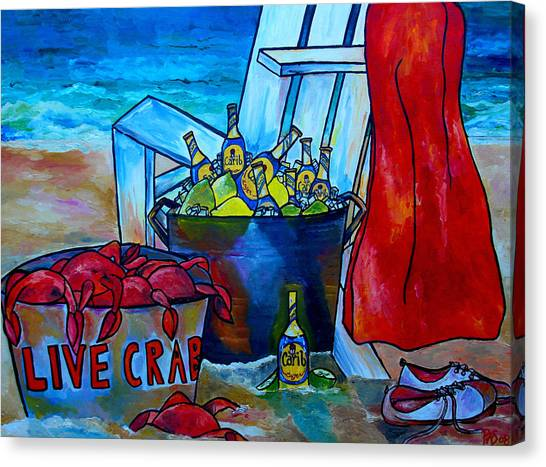 Caribe And Crab Canvas Print by Patti Schermerhorn