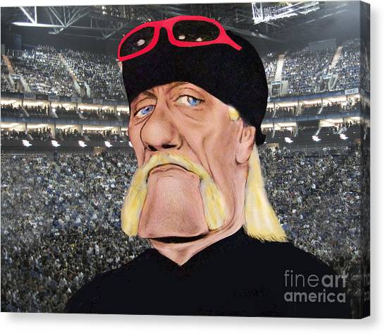 Hulk Hogan Canvas Print - Caricature Of Wrestling Legend Hulk Hogan by Jim Fitzpatrick