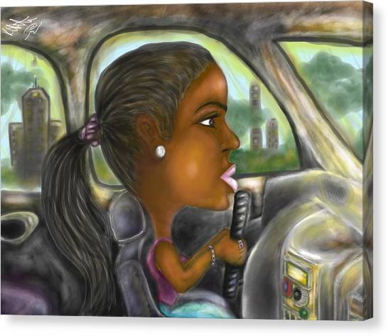 Caricature Ride With Jay Canvas Print