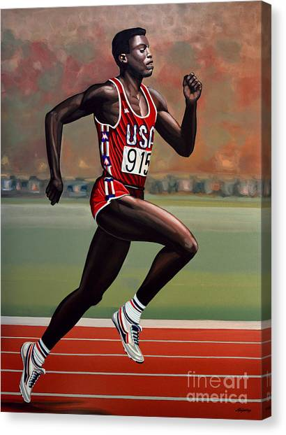 Realism Art Canvas Print - Carl Lewis by Paul Meijering