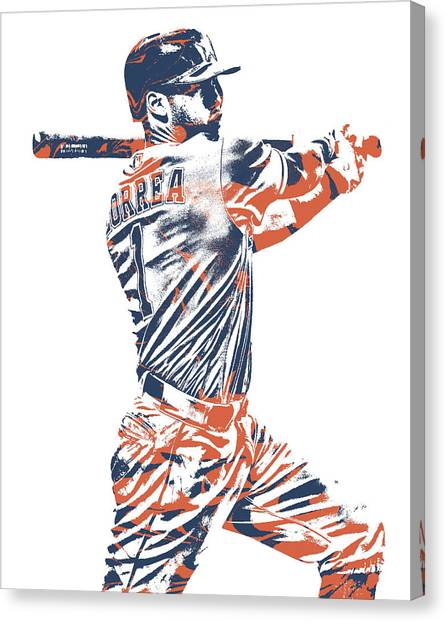Houston Astros Canvas Print - Carlos Correa Houston Astros Pixel Art 2 by Joe Hamilton