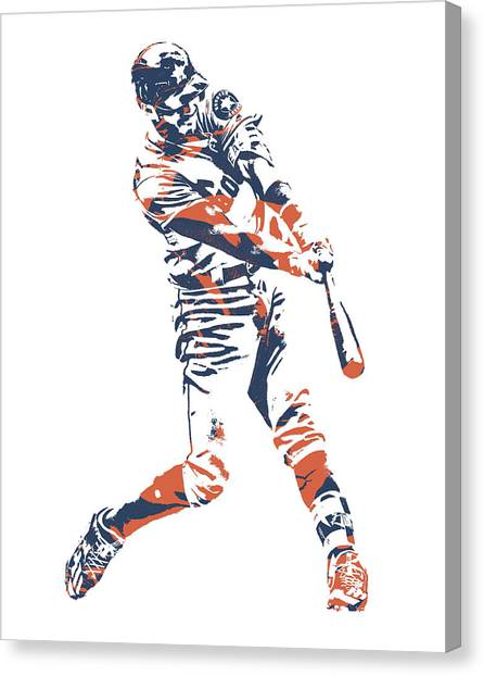 Houston Astros Canvas Print - Carlos Correa Houston Astros Pixel Art 3 by Joe Hamilton