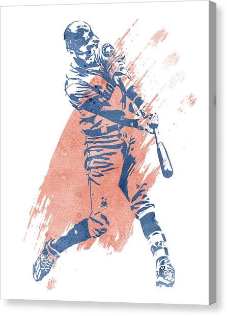 Houston Astros Canvas Print - Carlos Correa Houston Astros Water Color Art 1 by Joe Hamilton