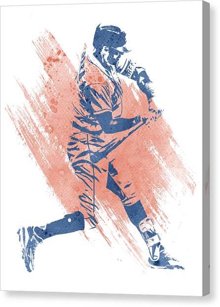 Houston Astros Canvas Print - Carlos Correa Houston Astros Water Color Art 2 by Joe Hamilton