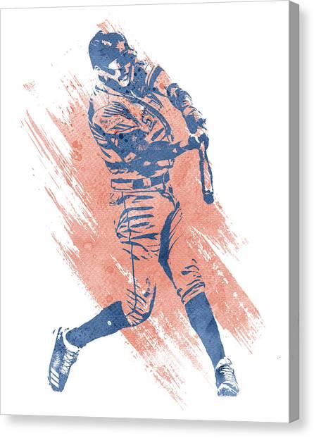 Houston Astros Canvas Print - Carlos Correa Houston Astros Water Color Art 3 by Joe Hamilton