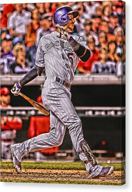 Colorado Rockies Canvas Print - Carlos Gonzalez Colorado Rockies Art 2 by Joe Hamilton