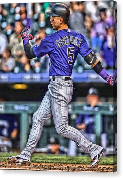 Colorado Rockies Canvas Print - Carlos Gonzalez Colorado Rockies Art 3 by Joe Hamilton