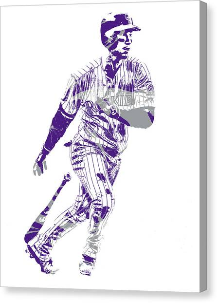 Colorado Rockies Canvas Print - Carlos Gonzalez Colorado Rockies Pixel Art 10 by Joe Hamilton