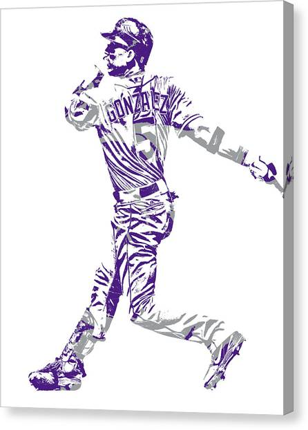 Colorado Rockies Canvas Print - Carlos Gonzalez Colorado Rockies Pixel Art 11 by Joe Hamilton