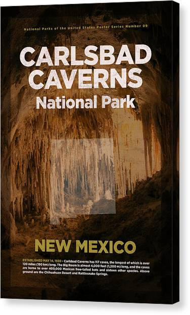 Caverns Canvas Print - Carlsbad Caverns National Park In New Mexico Travel Poster Series Of National Parks Number 09 by Design Turnpike