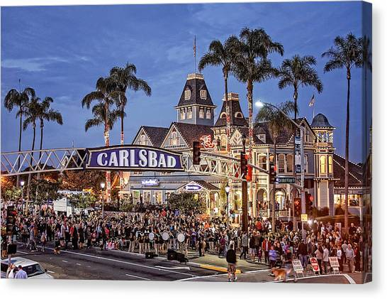 Canvas Print - Carlsbad Village Sign Lighting by Ann Patterson