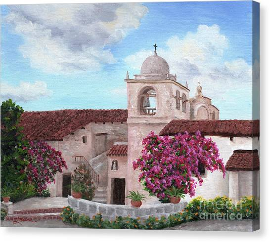 Missions California Canvas Print - Carmel Mission In Spring by Laura Iverson