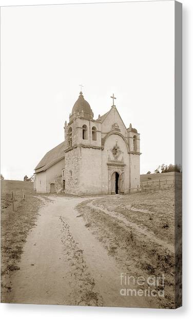 Carmel Mission South Side Circa 1915 Canvas Print