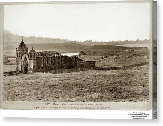 Carmel Mission, With Glimpse Of River And Bay Circa 1880 Canvas Print
