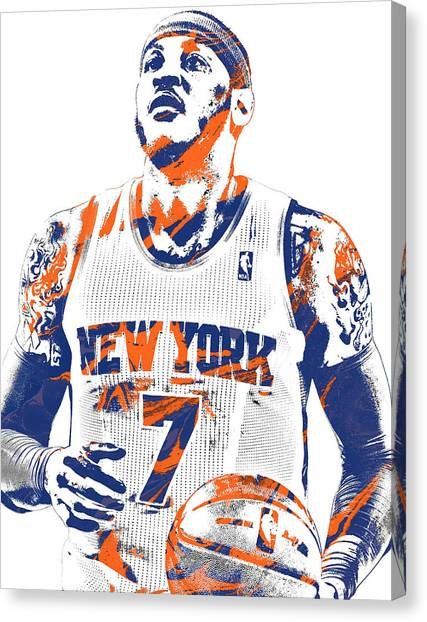 New York Knicks Canvas Print - Carmelo Anthony New York Knicks Pixel Art 2 by Joe Hamilton
