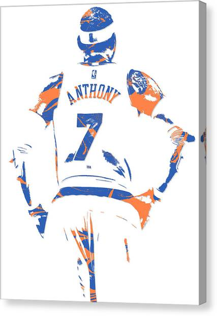 New York Knicks Canvas Print - Carmelo Anthony New York Knicks Pixel Art 5 by Joe Hamilton