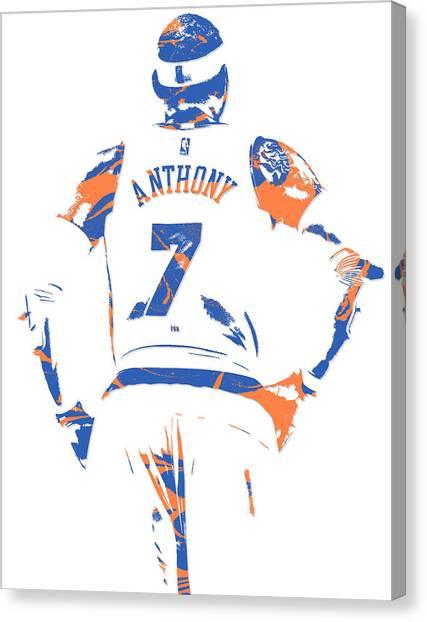 New York Knicks Canvas Print - Carmelo Anthony New York Knicks Pixel Art 5 by Joe Hamilton