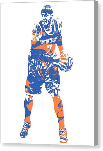 New York Knicks Canvas Print - Carmelo Anthony New York Knicks Pixel Art 6 by Joe Hamilton