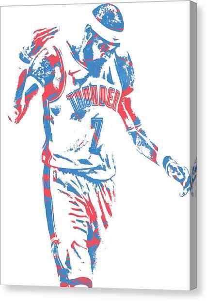 Oklahoma City Thunder Canvas Print - Carmelo Anthony Oklahoma City Thunder Pixel Art 1 by Joe Hamilton