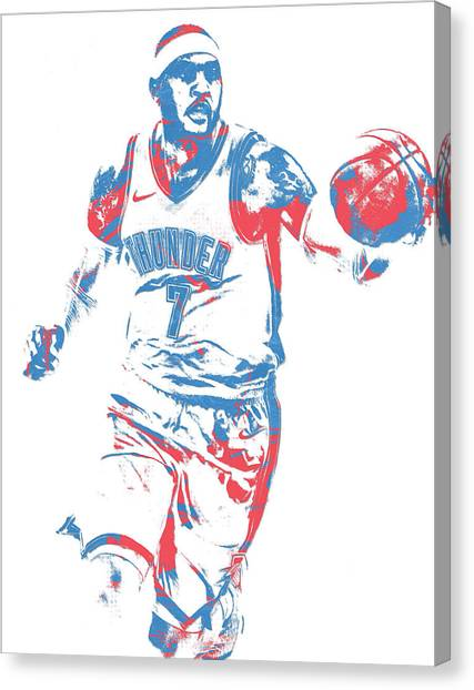 Oklahoma City Thunder Canvas Print - Carmelo Anthony Oklahoma City Thunder Pixel Art 3 by Joe Hamilton