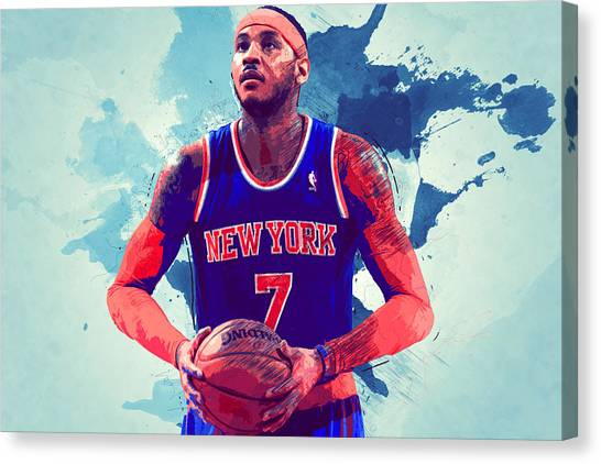 Black Mambas Canvas Print - Carmelo Anthony by Semih Yurdabak