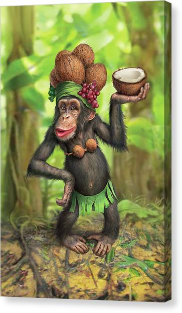 Monkeys Canvas Print - Carmen Coconuts by Mark Fredrickson
