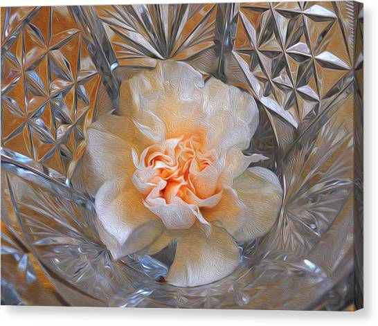Carnation In Cut Glass 7 Canvas Print