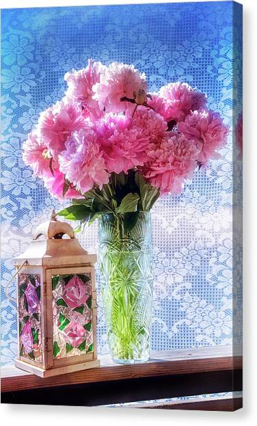 Tropical Stain Glass Canvas Print - Carnations On The Windowsill by Debra and Dave Vanderlaan