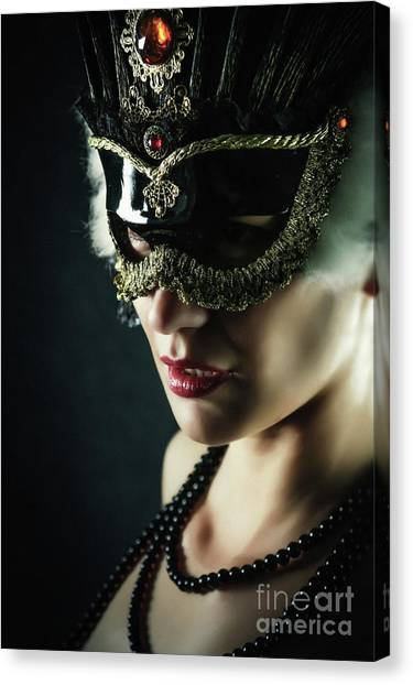 Canvas Print featuring the photograph Carnival Mask Closeup Girl Portrait by Dimitar Hristov